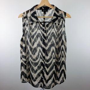AB Studio sheer button down sleeveless blouse